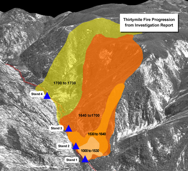 Fire progression map from Thirtymile Fire Investigation Report