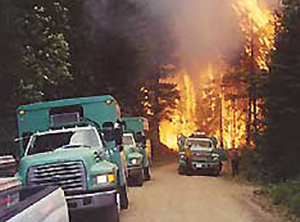 Fire breaching the road, entrapping Northwest Regular #6 Crew on the other side of flaming front. This view is looking up the canyon with the Entiat Hotshot Crew vehicles and a Methow Valley Ranger District engine in the foreground.